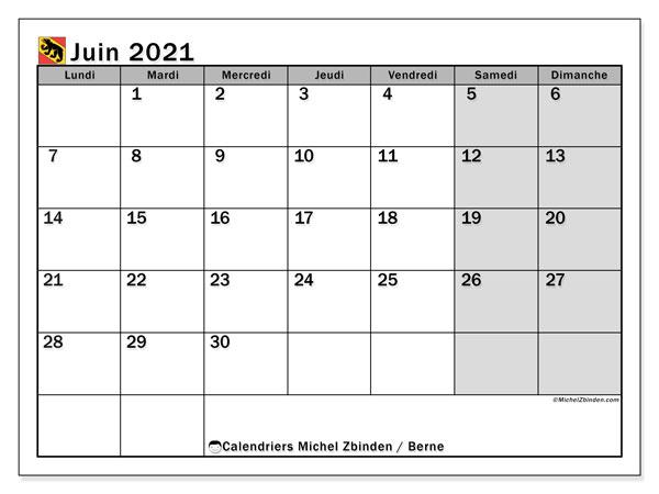 Calendrier juin 2021, avec les jours fériés du Canton de Berne. Calendrier Fêtes et jours fériés à imprimer gratuit.