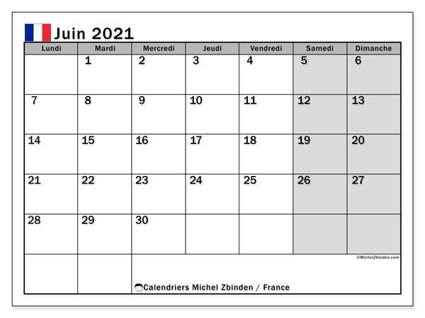 """Calendriers juin 2021 """"Jours fériés""""   Michel Zbinden FR"""