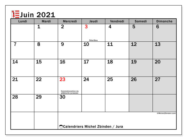 Calendrier juin 2021, avec les jours fériés du Canton du Jura. Calendrier Fêtes et jours fériés à imprimer gratuit.