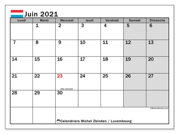 """Calendrier Juin 2021 Avec Jours Fériés Calendrier """"Luxembourg"""" juin 2021 à imprimer   Michel Zbinden FR"""