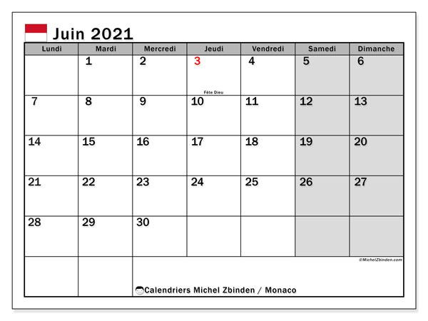 Calendrier juin 2021, avec les jours fériés de Monaco. Calendrier à imprimer gratuit avec jours fériés.