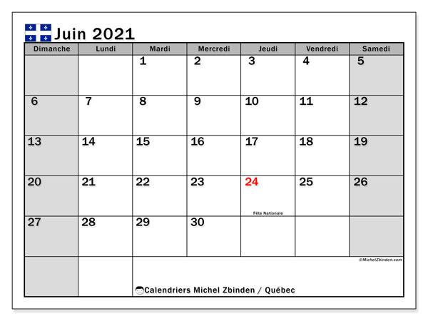"""Juin 2021 Calendrier Calendrier """"Québec"""" juin 2021 à imprimer   Michel Zbinden FR"""