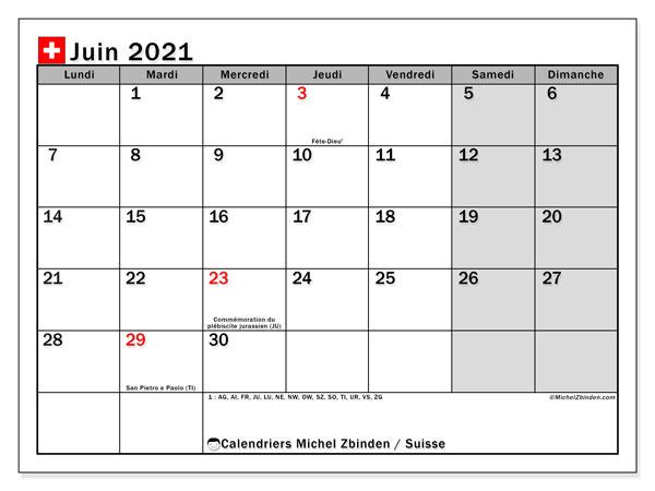 Calendrier juin 2021, avec les jours fériés de la Suisse. Calendrier Fêtes et jours fériés à imprimer gratuit.