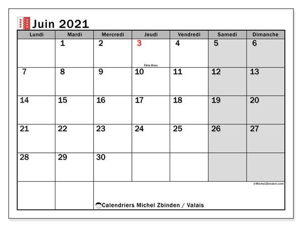 Calendrier juin 2021, avec les jours fériés du Canton du Valais. Calendrier Fêtes et jours fériés à imprimer gratuit.