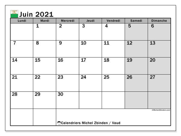 Calendrier juin 2021, avec les jours fériés du Canton de Vaud. Calendrier Fêtes et jours fériés à imprimer gratuit.