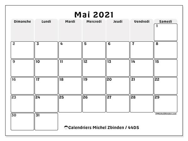 """Calendrier Mai 2021 à Imprimer Gratuit Calendrier """"44DS"""" mai 2021 à imprimer   Michel Zbinden FR"""