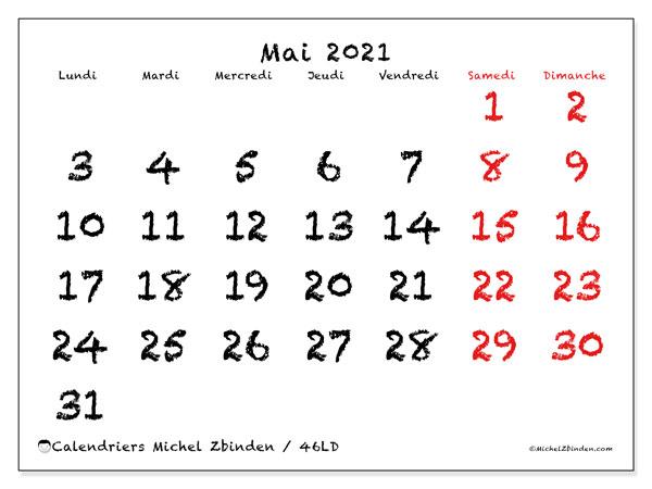 Calendrier mai 2021, 46LD. Calendrier à imprimer gratuit.