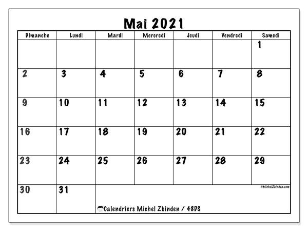 "Calendrier Mois Mai 2021 Calendrier ""48DS"" mai 2021 à imprimer   Michel Zbinden FR"