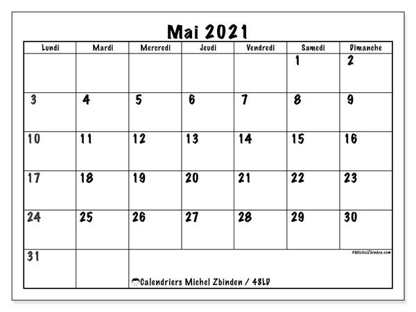"Calendrier Mois De Mai 2021 Calendrier ""48LD"" mai 2021 à imprimer   Michel Zbinden FR"