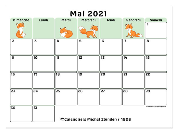 "Calendrier Mensuel à Imprimer 2021 Calendrier ""49DS"" mai 2021 à imprimer   Michel Zbinden FR"