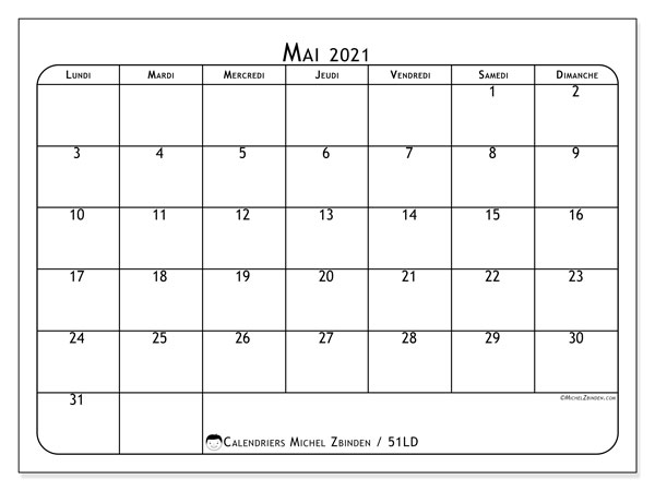 Calendrier mai 2021, 51LD. Calendrier pour le mois à imprimer gratuit.