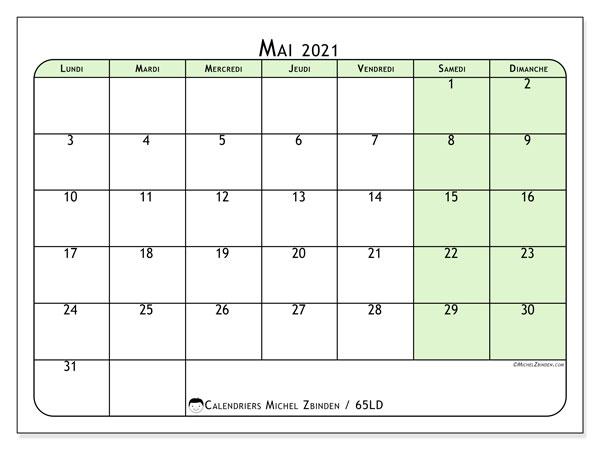 Calendrier mai 2021, 65LD. Organisateur à imprimer gratuit.