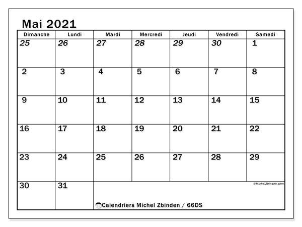 Calendrier mai 2021, 66DS. Planificateur à imprimer gratuit.