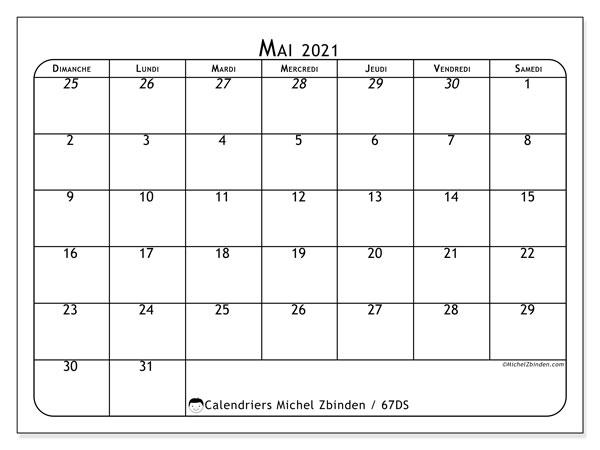 Calendrier mai 2021, 67DS. Organisateur à imprimer gratuit.