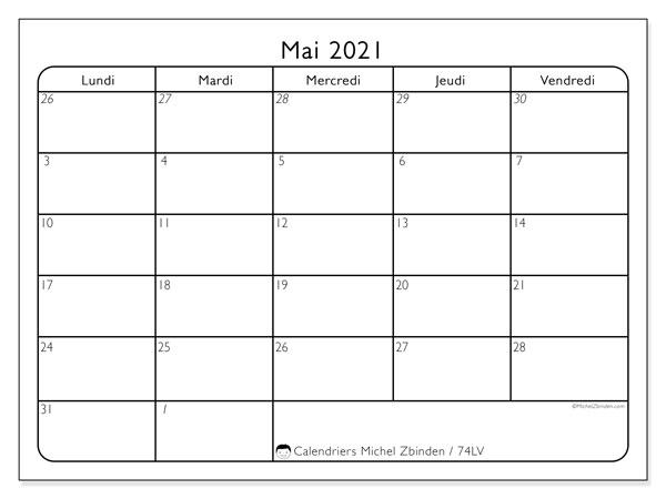 Calendrier mai 2021, 74LD. Calendrier pour le mois à imprimer gratuit.