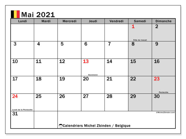 "Calendrier ""Belgique"" mai 2021 à imprimer   Michel Zbinden FR"