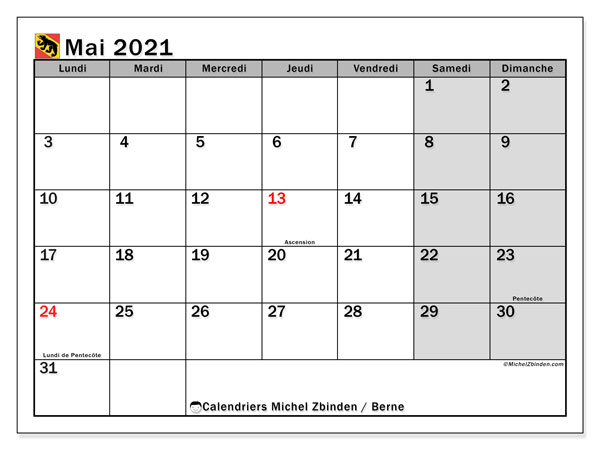 Calendrier mai 2021, avec les jours fériés du Canton de Berne. Calendrier à imprimer gratuit avec jours fériés.