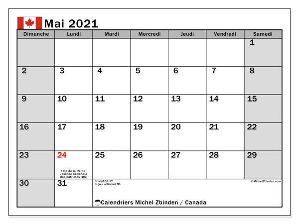 "Calendrier ""Canada"" mai 2021 à imprimer   Michel Zbinden FR"
