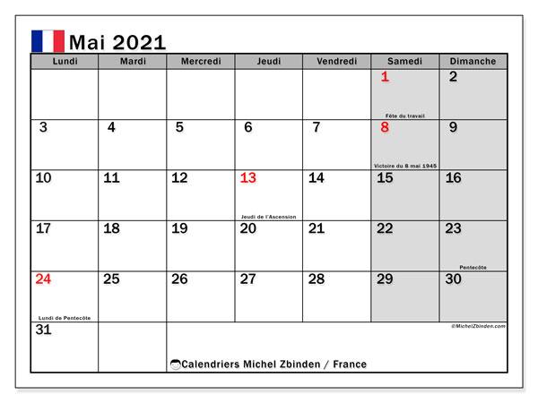 """Calendriers mai 2021 """"Jours fériés""""   Michel Zbinden FR"""