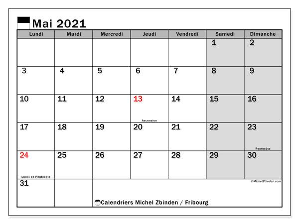 Calendrier mai 2021, avec les jours fériés du Canton de Fribourg. Calendrier à imprimer gratuit avec jours fériés.