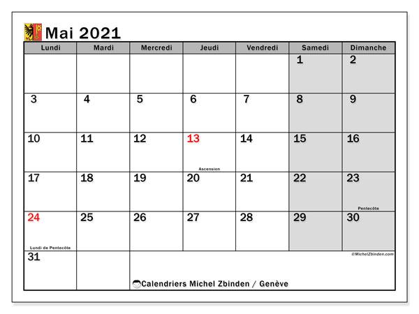 Calendrier mai 2021, avec les jours fériés du Canton de Genève. Calendrier à imprimer gratuit avec jours fériés.