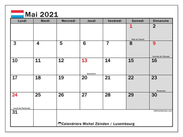 "Calendrier ""Luxembourg"" mai 2021 à imprimer   Michel Zbinden FR"
