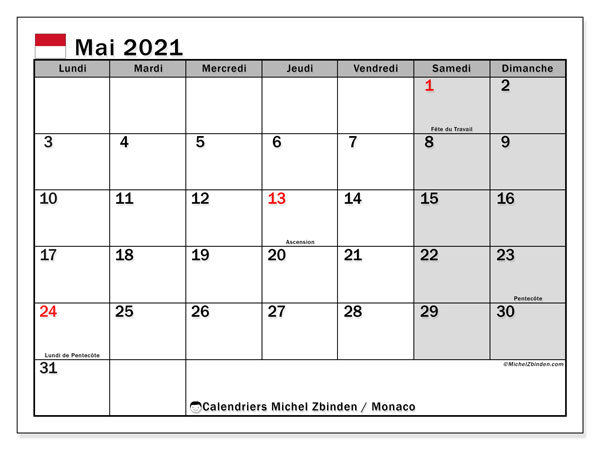 "Calendrier ""Monaco"" mai 2021 à imprimer   Michel Zbinden FR"