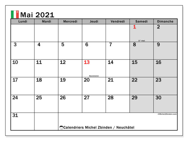 Calendrier mai 2021, avec les jours fériés du Canton de Neuchâtel. Calendrier Fêtes et jours fériés à imprimer gratuit.