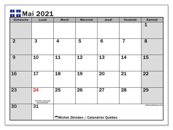 """Calendrier """"Québec"""" mai 2021 à imprimer   Michel Zbinden FR"""