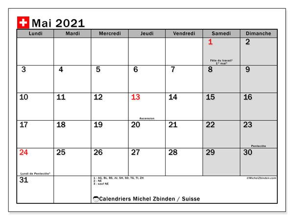 Calendrier mai 2021, avec les jours fériés de la Suisse. Calendrier Fêtes et jours fériés à imprimer gratuit.