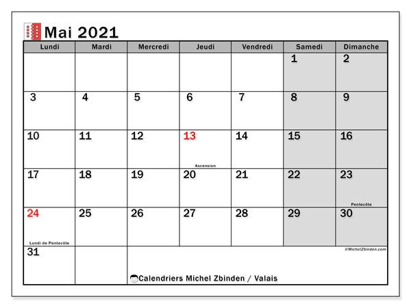 Calendrier mai 2021, avec les jours fériés du Canton du Valais. Calendrier Fêtes et jours fériés à imprimer gratuit.