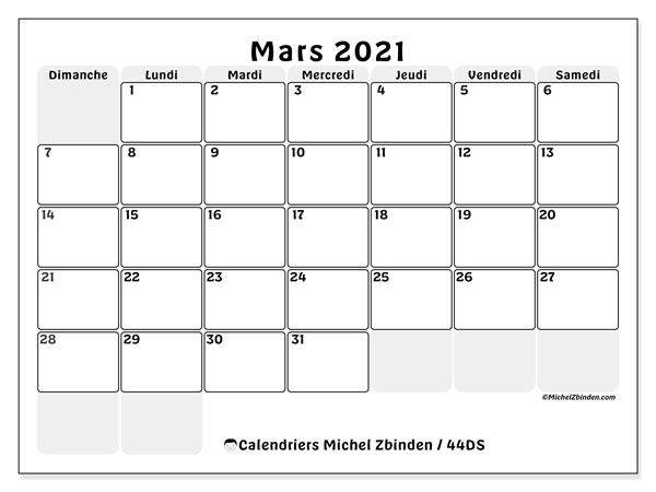 Calendriers mars 2021 (DS).  44DS.