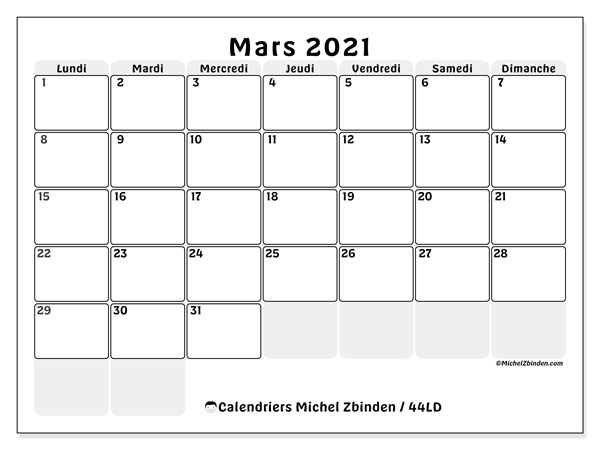 Calendriers mars 2021, 44