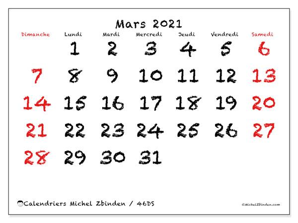 Calendrier mars 2021, 46DS. Calendrier imprimable gratuit.
