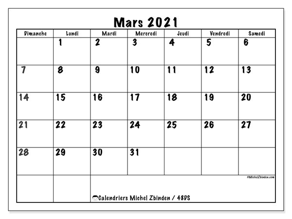 Calendriers mars 2021 (DS).  48DS.
