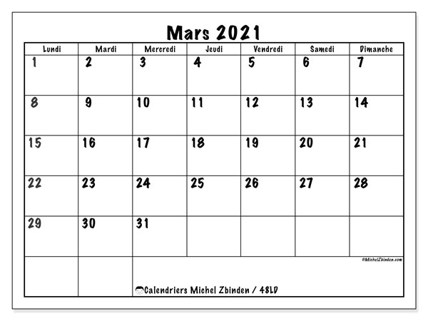 Calendriers mars 2021, 48