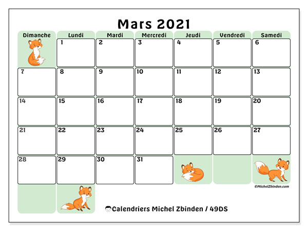 "Calendrier 2021 Mars Calendrier ""49DS"" mars 2021 à imprimer   Michel Zbinden FR"