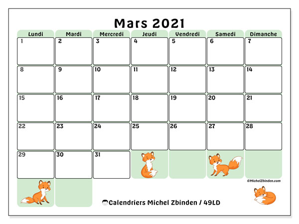 Calendriers mars 2021, 49