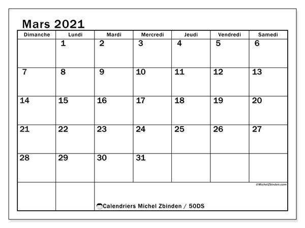 Calendrier mars 2021, 50DS. Calendrier gratuit à imprimer.