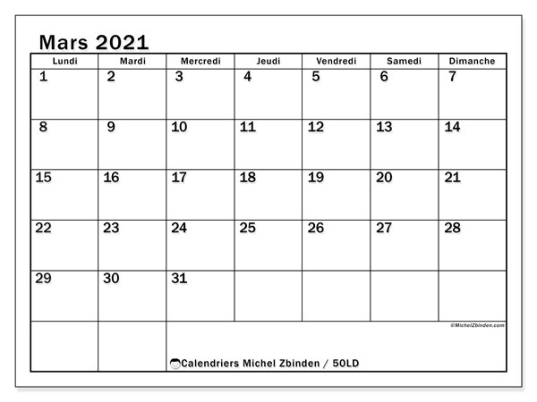 Calendriers mars 2021, <strong></strong>