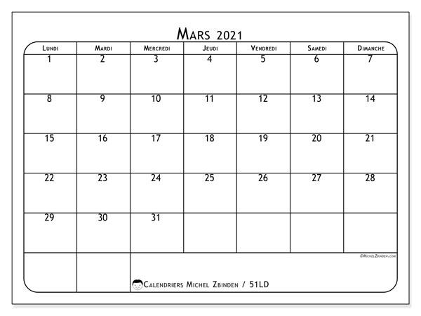 Calendrier mars 2021, 51LD. Calendrier mensuel à imprimer gratuit.