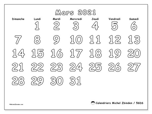 Calendriers mars 2021 (DS).  56DS.