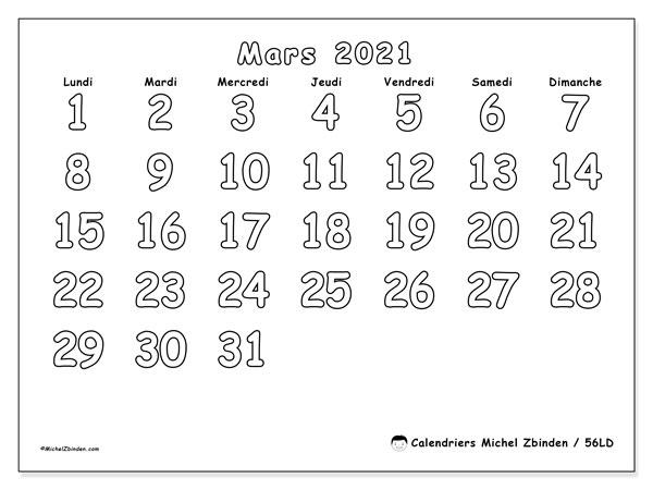 Calendrier mars 2021, 56LD. Calendrier gratuit à imprimer.