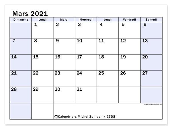 Calendrier mars 2021, 57DS. Calendrier mensuel à imprimer gratuit.