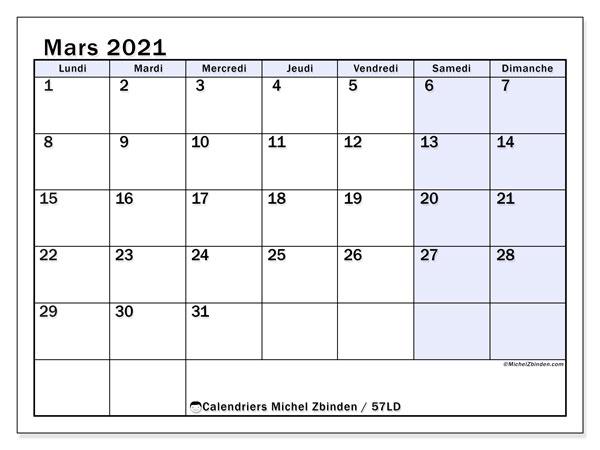 Calendrier mars 2021, 57LD. Calendrier à imprimer gratuit.