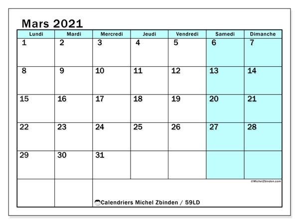 Calendrier mars 2021, 59LD. Calendrier à imprimer gratuit.