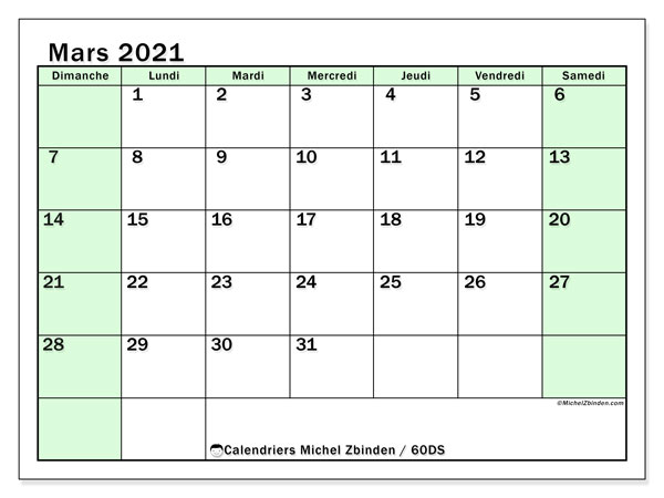 Calendriers mars 2021 (DS).  60DS.