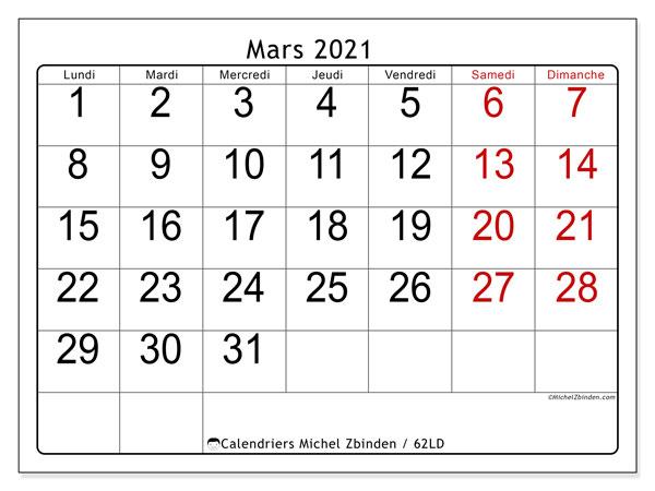 "Calendrier ""62LD"" mars 2021 à imprimer   Michel Zbinden FR"