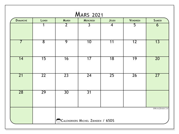 Calendriers mars 2021 (DS).  65DS.