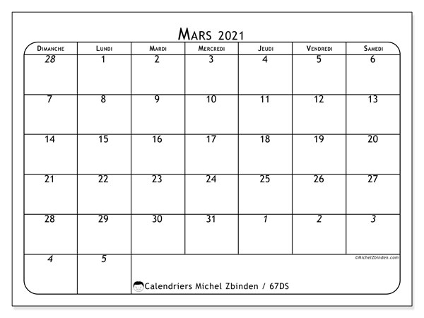 Calendrier mars 2021, 67DS. Calendrier mensuel à imprimer gratuit.